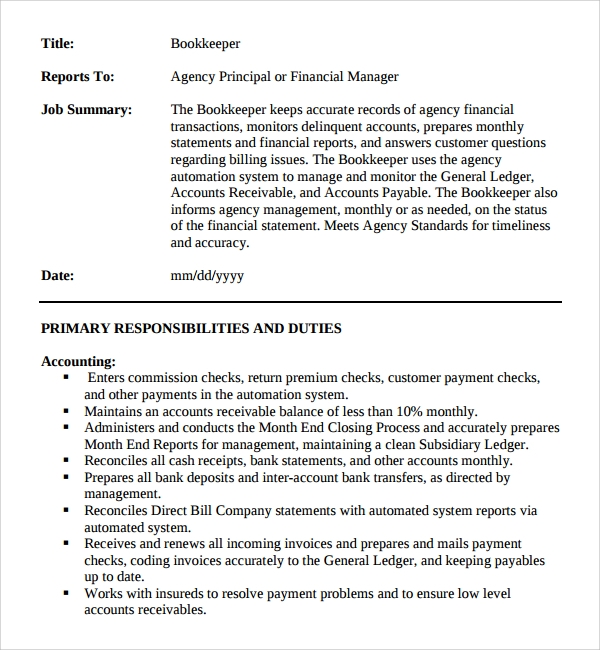 bookkeeper job description template