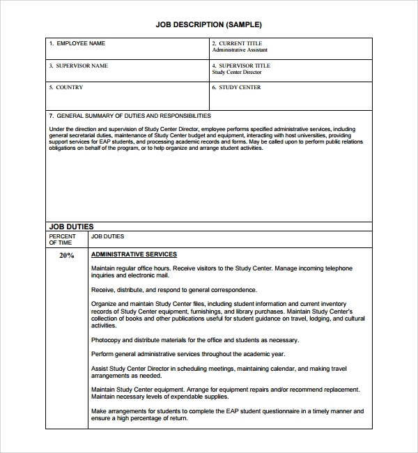 sample job description template