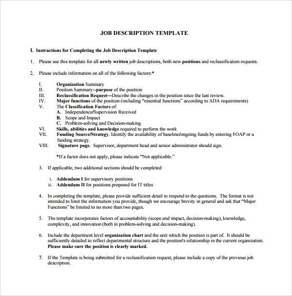 Sample job description template 9 free documents for Creating job descriptions template