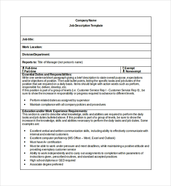 Sample Job Description Template 9 Free Documents Download in – Word Job Description Template