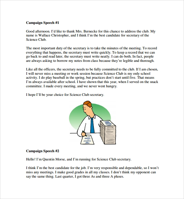 Campaign Speech Example Template. Student Council Speech Best 25+