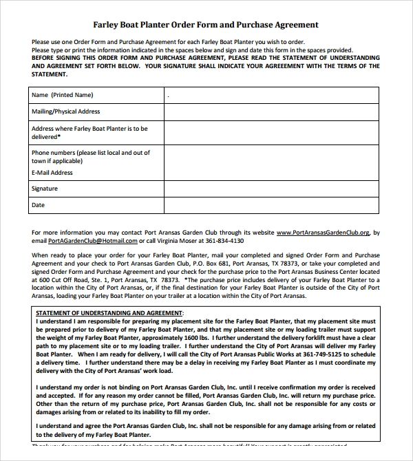 9 Boat Purchase Agreement Templates Sample Templates