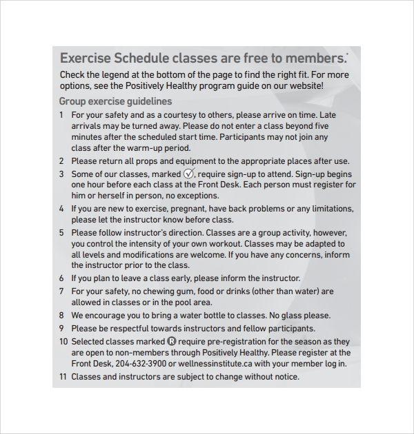exercise schedule plan template