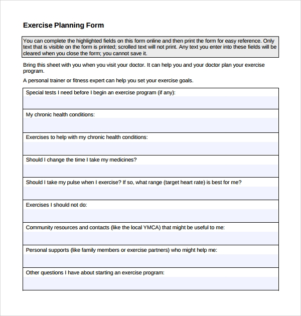 exercise planning form template