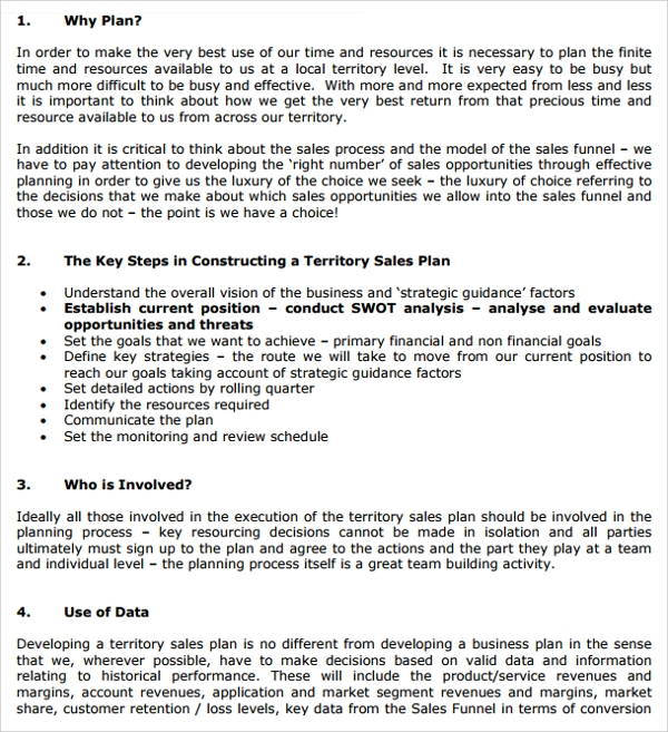 Sample Territory Plan Template 8 Free Documents in PDF Word – Sample Territory Sales Plan