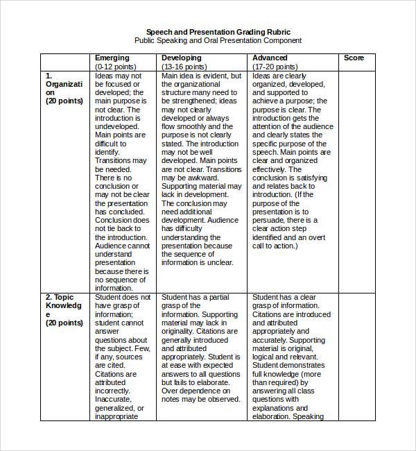 presentation speech example doc