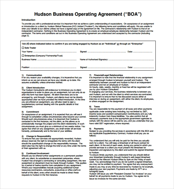 8 Business Operating Agreement Templates Sample Templates