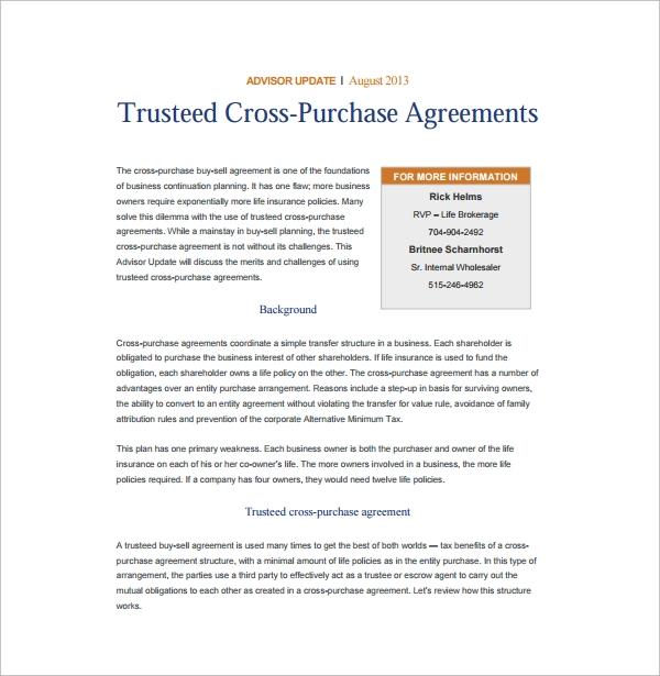High Quality Trusteed Cross Purchase Agreement Good Looking
