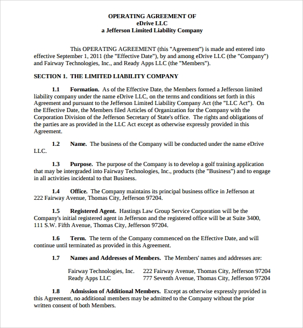 Sample Business Operating Agreement 7 Free Documents