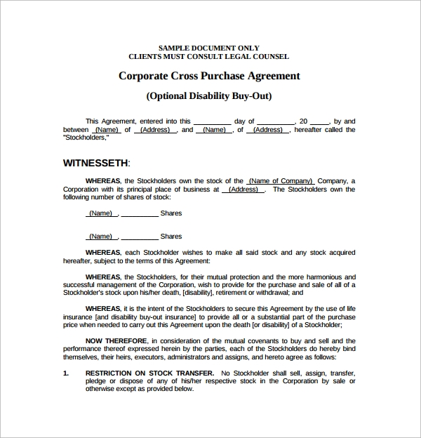 corporate cross purchase agreement
