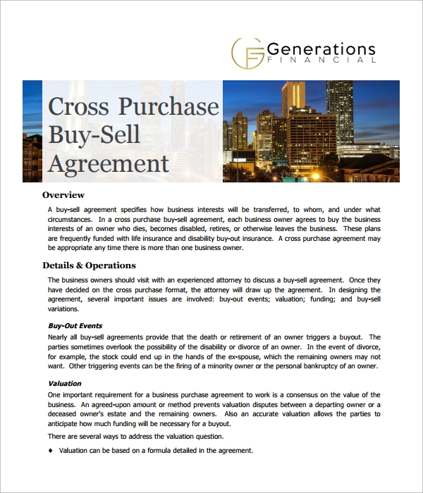 Sample Cross Purchase Agreement Template   Free Documents