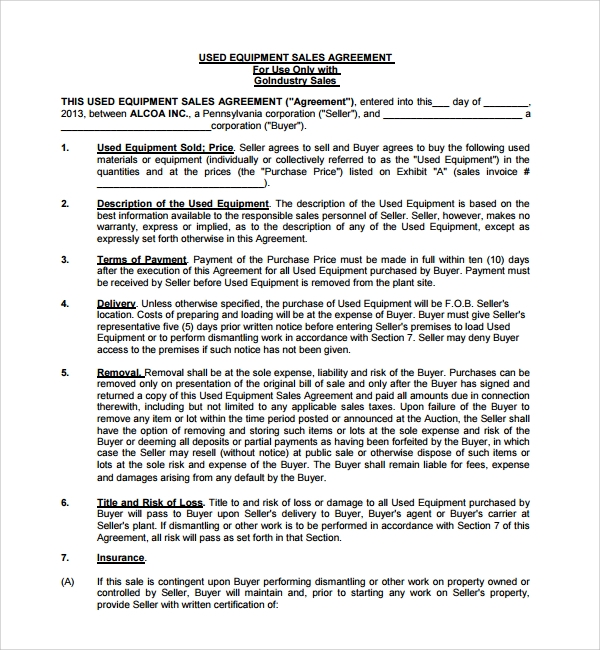 Heavy Equipment Purchase Agreement  Purchase Agreement Template