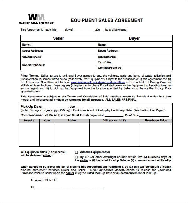 Sample Equipment Purchase Agreement   Free Documents Download In Pdf