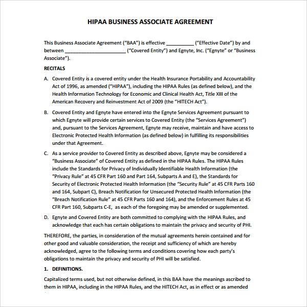 Sample Business Associate Agreement 7 Free Documents