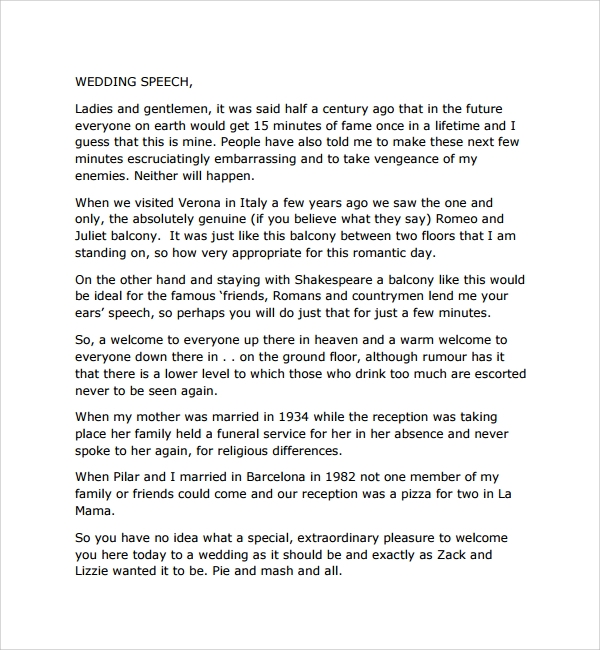 8 welcome speech examples pdf doc sample templates for Father of the bride speech templates