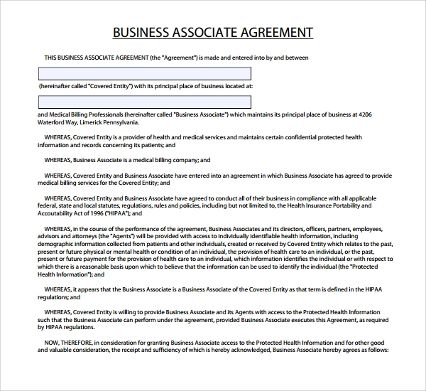 7 business associate agreement templates sample templates business associate agreement form flashek Choice Image