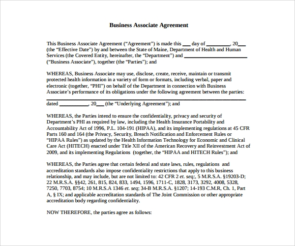 Sample Business Associate Agreement 6 Free Documents Download – Business Associate Agreement Template