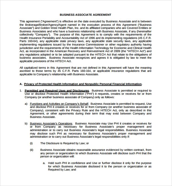 Sample Business Associate Agreement 6 Free Documents