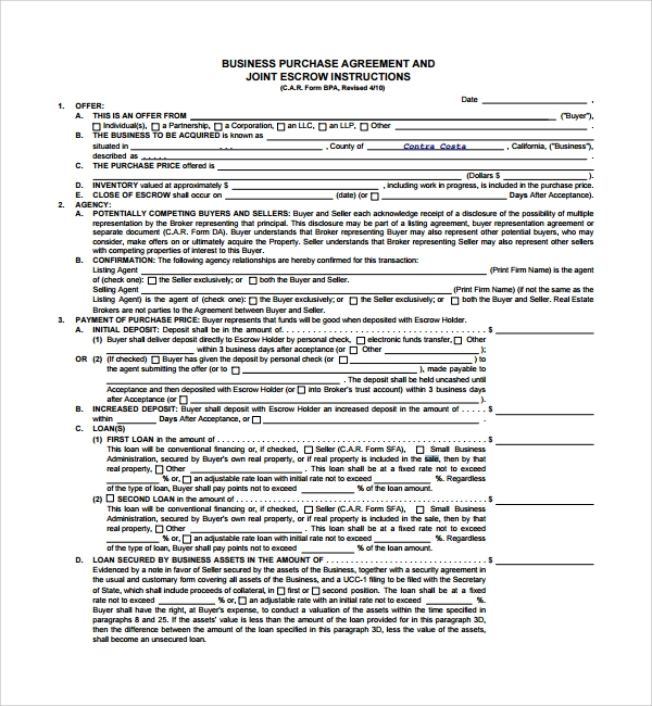 Sample Business Sale Agreement 8 Free Documents
