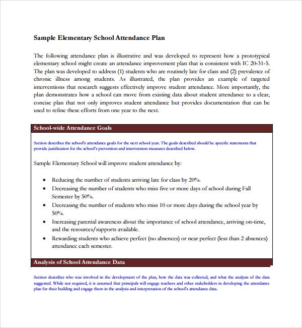 sample attendance planner