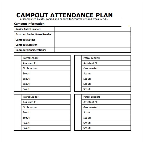 Sample Attendance Planner   Free Documents Download In Pdf Word