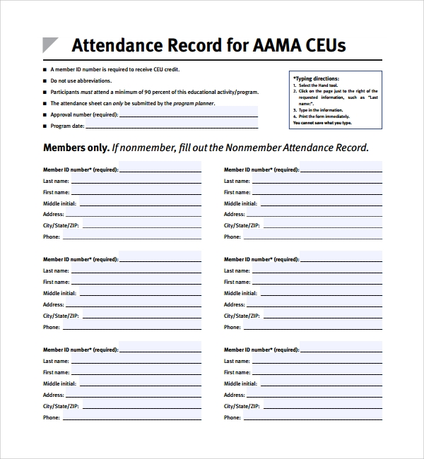 attendance record planner