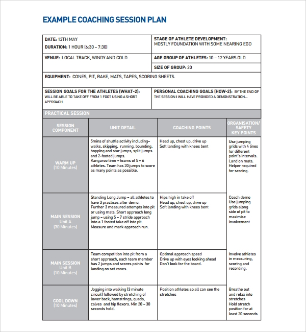 Sample Coaching Plan Template   Free Documents Download In Pdf Doc