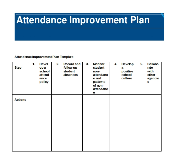 student improvement plan template 9 attendance planners sample templates