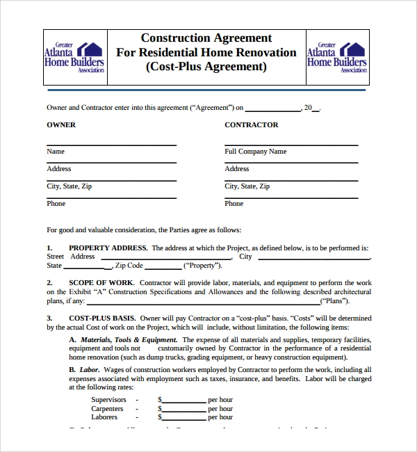 Sample Construction Agreement Template   Free Documents