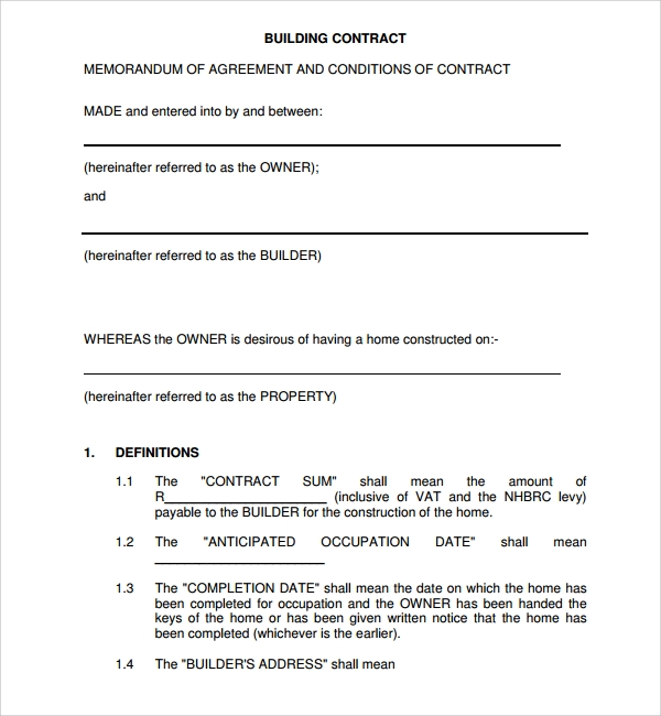 Sample Construction Agreement Template   Free Documents Download
