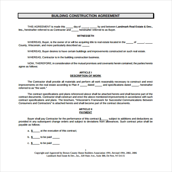 7 construction agreement templates sample templates for Contract for building a house