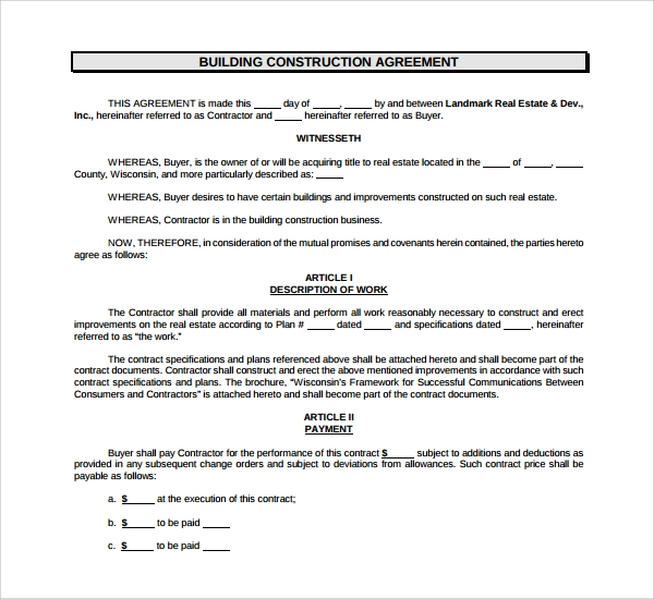 construction agreement sample