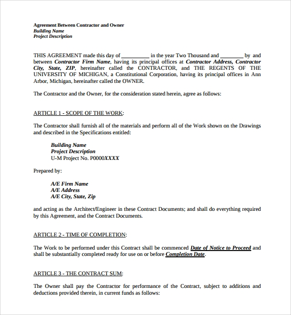 Sample Construction Agreement Template 6 Free Documents – Time and Materials Construction Contract