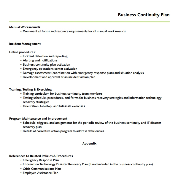 Sample Continuity Plan Template   Free Documents Download In