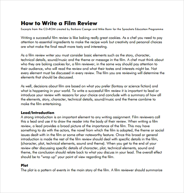 Task 1: structuring your film review