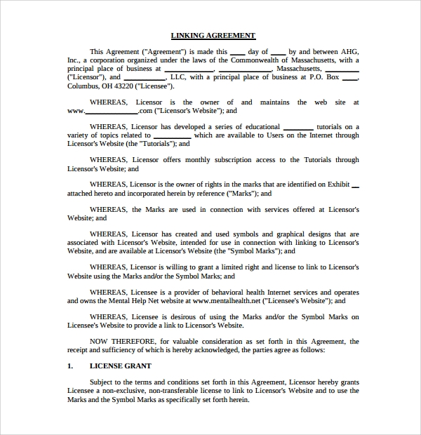 Linking Agreement Template   Free Documents Download In Pdf Doc