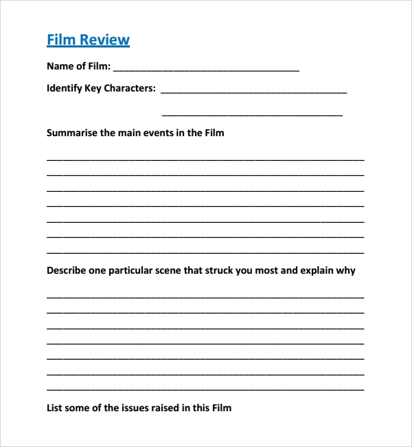 Sample Film Review Template   Free Documents Download In Word Pdf