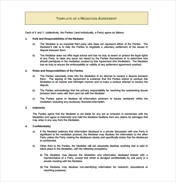 Mediation Agreement Template - 6+ Free Documents Download In Pdf