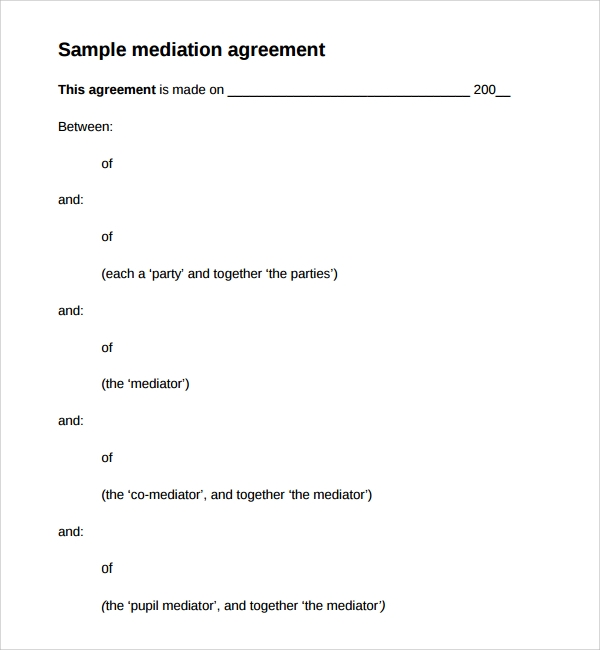 sample mediation agreement