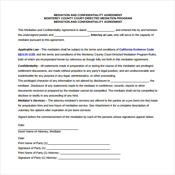 Mediation Agreement Template   Free Documents Download In Pdf