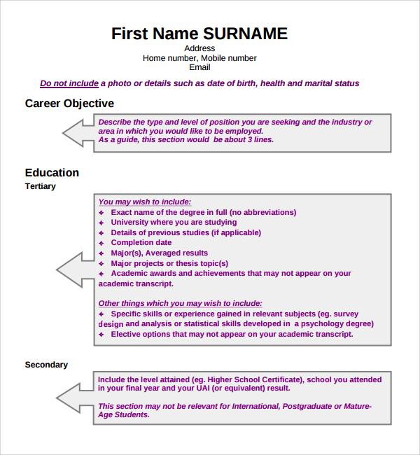 design cv format template