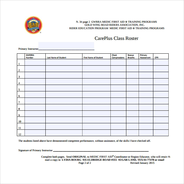 Sample Class Roster Template   Free Documents Download In Pdf