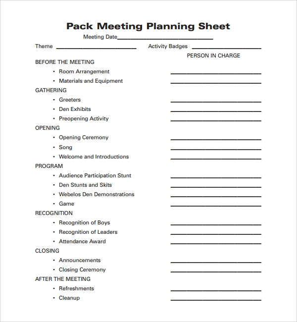 pack meeting plan template