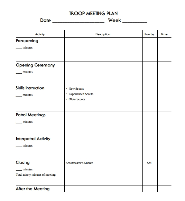 troop meeting planning template