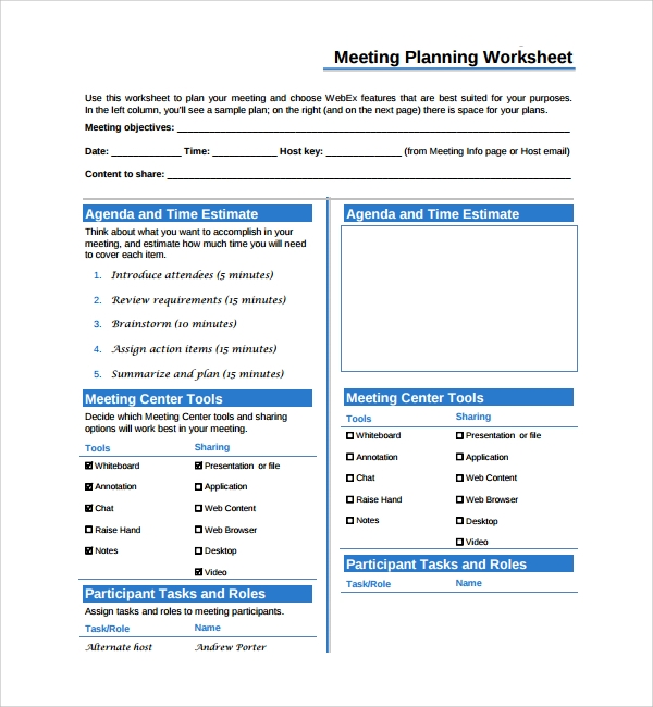 meeting planning worksheet template
