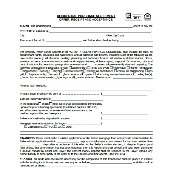 Sample Residential Purchase Agreement   Free Documents Download