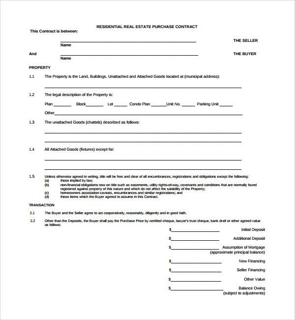 Sample Residential Purchase Agreement 7 Free Documents