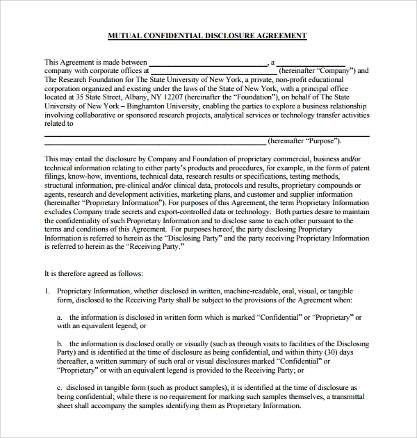 Sample confidential disclosure agreement 9 free for Cda agreement template