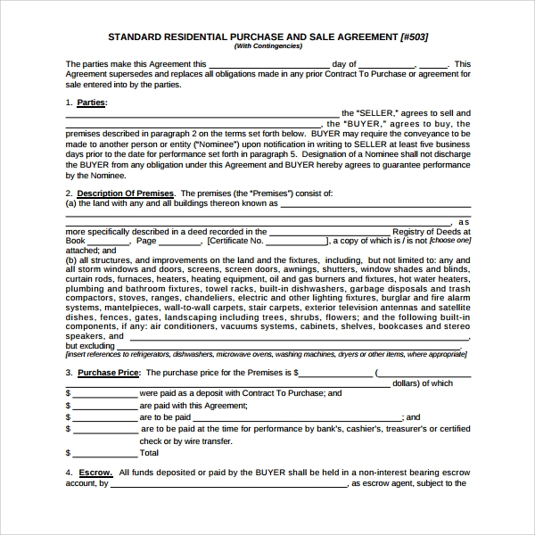 offer to purchase contract template - 8 residential purchase agreements sample templates