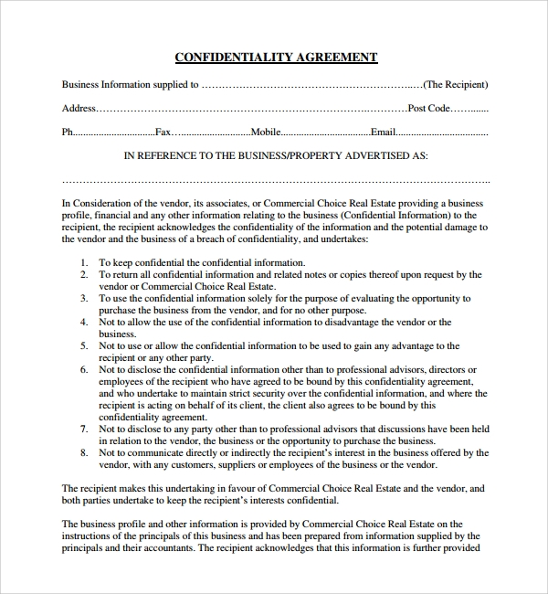 Sample Real Estate Confidentiality Agreement 9 Free